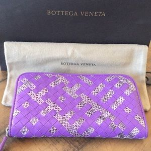 Bottega Veneta Woven large zip around wallet